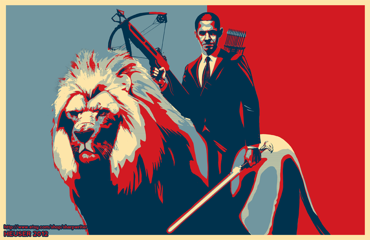 Obama Riding a Lion Poster by SharpWriter