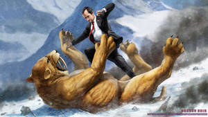 Richard Nixon fighting a Saber Tooth Tiger