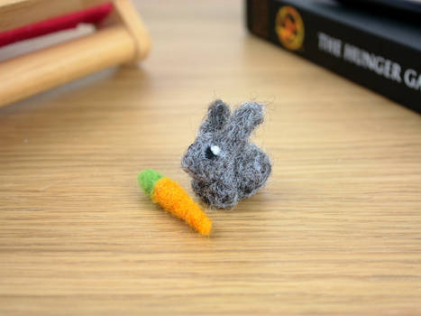 Needle felted tiny rabbit with carrot
