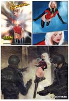 Ms Marvel vs Rhino by synthetikxs