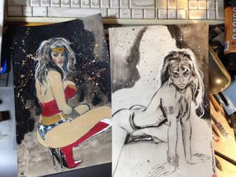 Wonder Woman color sketch / Vampirella ink quicky!