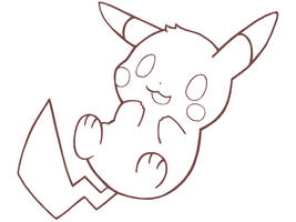 Pikachu lineart by The-pink-Vodka