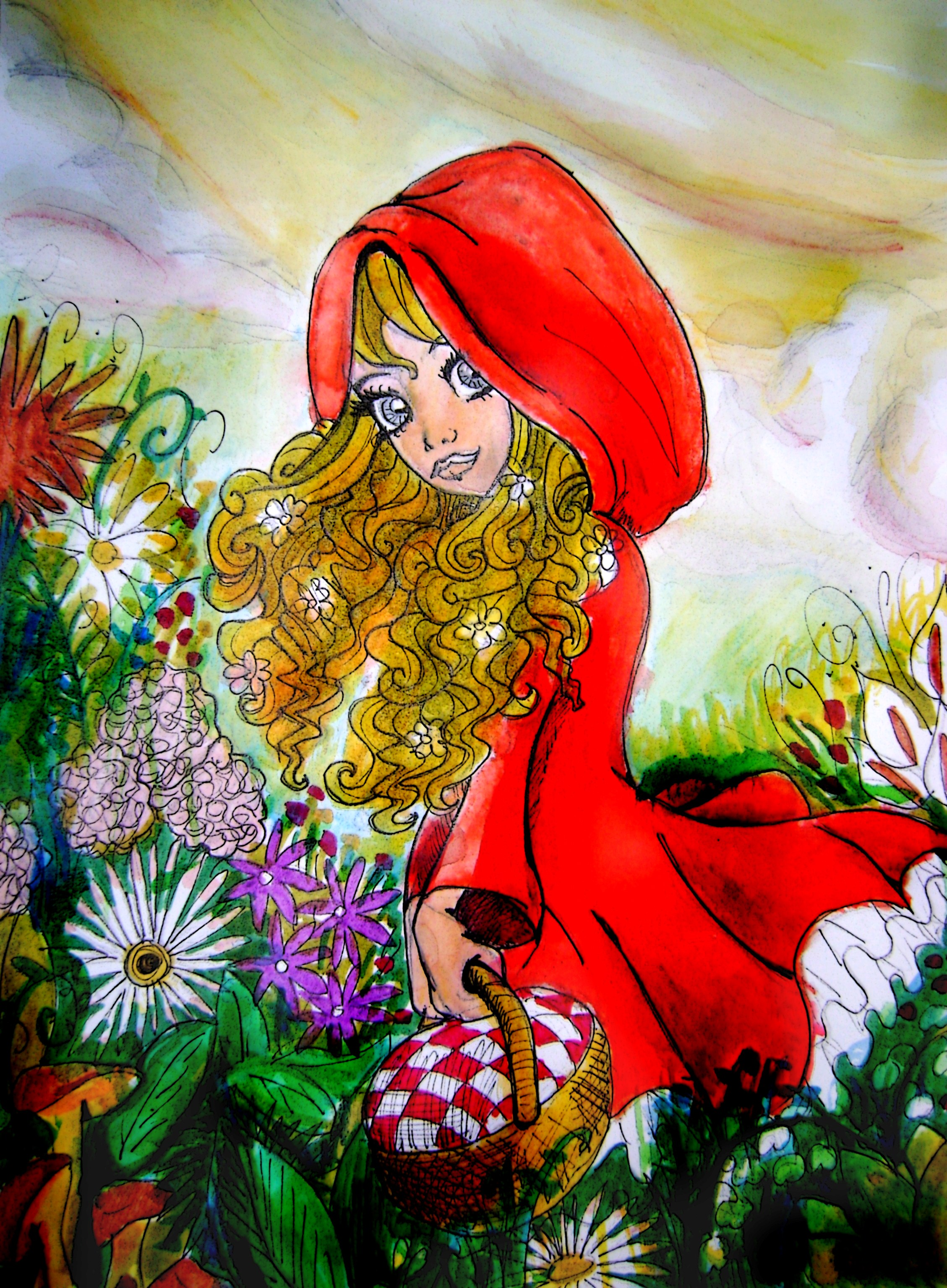 little red riding hood revisited by Le chaperon rouge revisite ( little red riding hood revisited naive art, little red, red riding hood, medieval fantasy, big eyes, childrens books.
