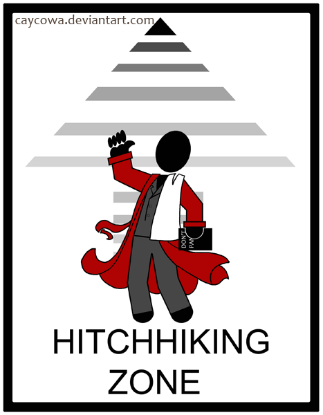 Hitchhiking Zone sign