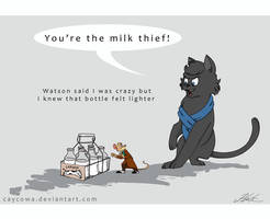 Sherlock and Basil - The Milk Thief by caycowa