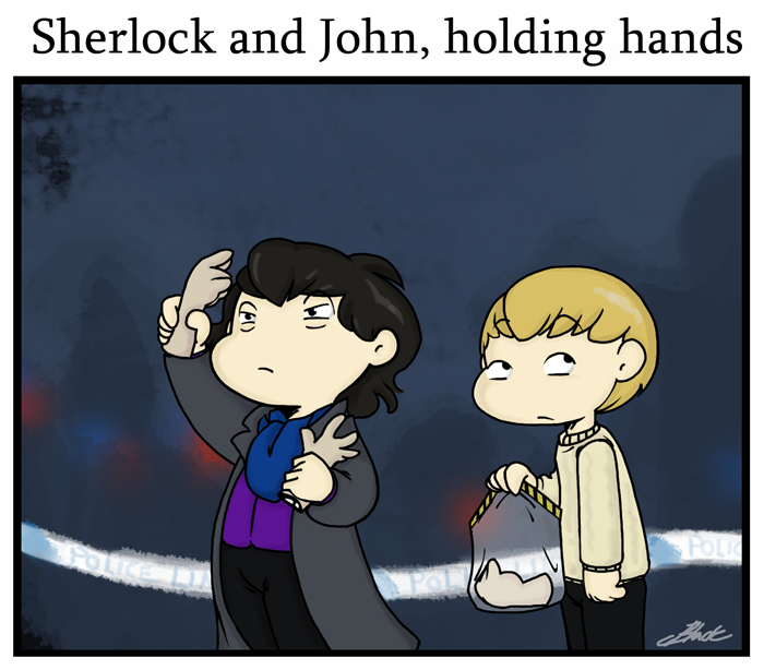 Sherlock - Holding hands by caycowa