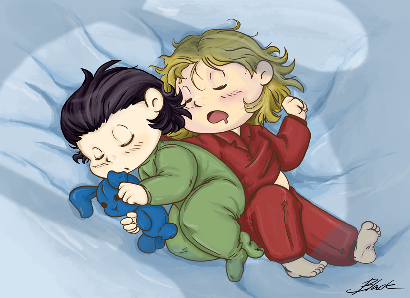 Thor and Loki - Sleeping brothers by caycowa