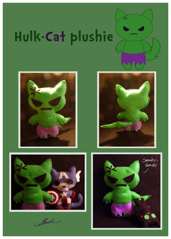 Hulk-cat plushie by caycowa
