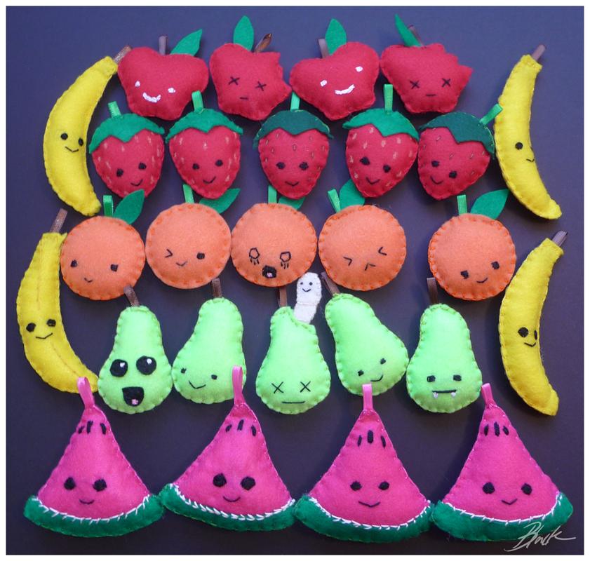 Kawaii Fruit Plushies by caycowa