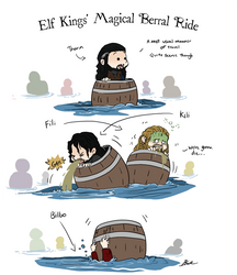Hobbit - Elf Kings' Magical Barrel Ride by caycowa