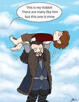 Hobbit - Thorin picks up Bilbo by caycowa