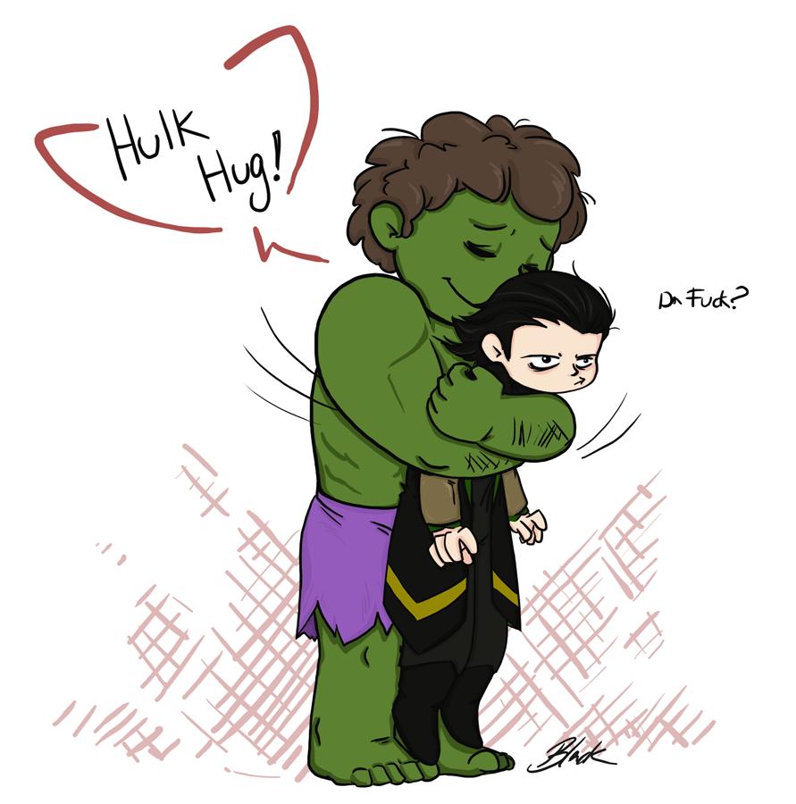 Avengers - Hulk Hug Loki by caycowa