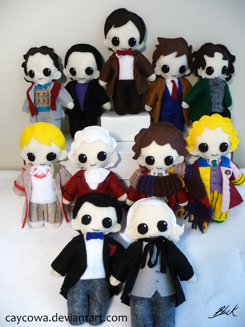 The Eleven Doctors - plushie version by caycowa