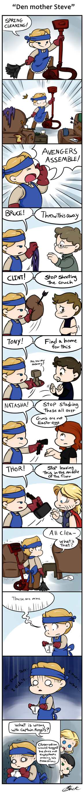 Domestic Avengers -  Den mother Steve by caycowa
