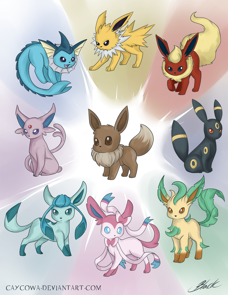 Eevee Evolutions - Power of Possibility by caycowa on DeviantArt