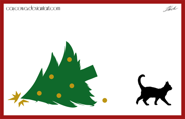 Christmas cat card 2013 - Bad kitty by caycowa