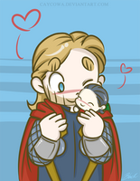 Thor and tiny Loki by caycowa