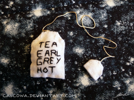Tea. Earl Grey. Hot. Plush tea bookmark