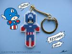 Captain America cross stitch keychain