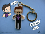 Hawkeye cross stitch keychain