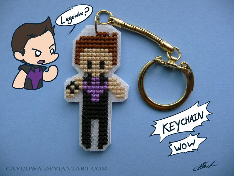 Hawkeye cross stitch keychain by caycowa