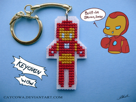 Iron Man cross stitch keychain by caycowa