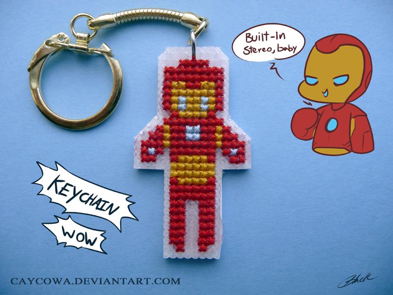 Iron Man cross stitch keychain by caycowa