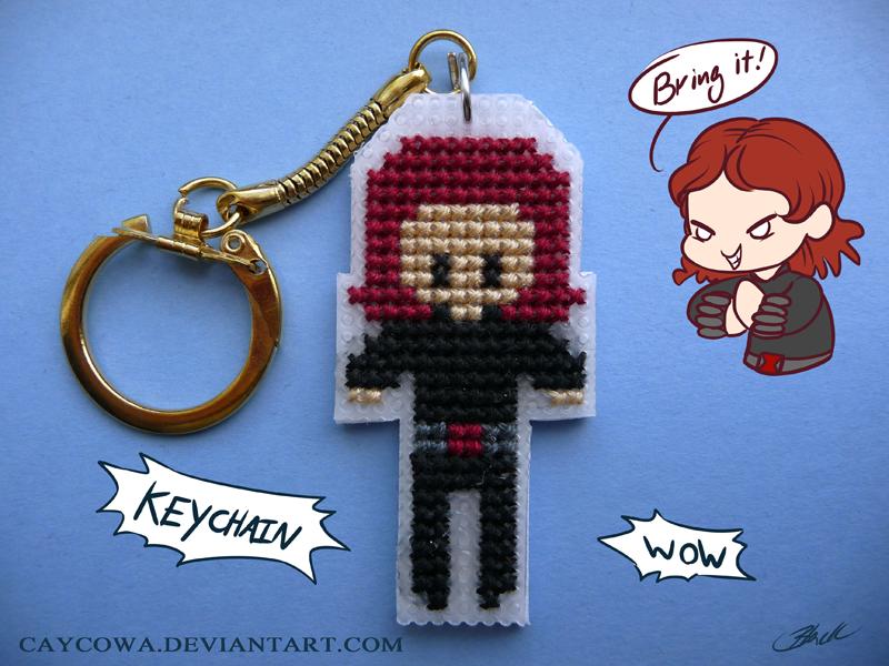 Black Widow cross stitch keychain by caycowa