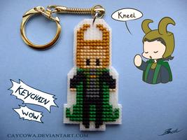 Loki cross stitch keychain by caycowa