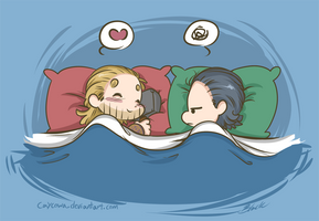 Thorki - Strange Bedfellows by caycowa