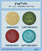 Avatar: The Last Airbender buttons by caycowa