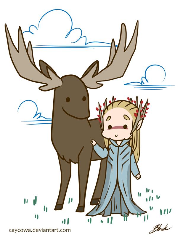 Hobbit - Thranduil and his elk by caycowa