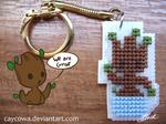 GotG - Chibi Baby Groot cross stitch keychain