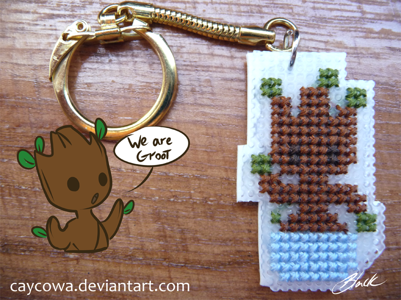 GotG - Chibi Baby Groot cross stitch keychain by caycowa
