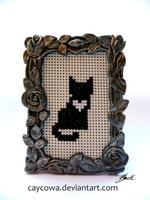 Heart Cats - Black cat cross stitch by caycowa