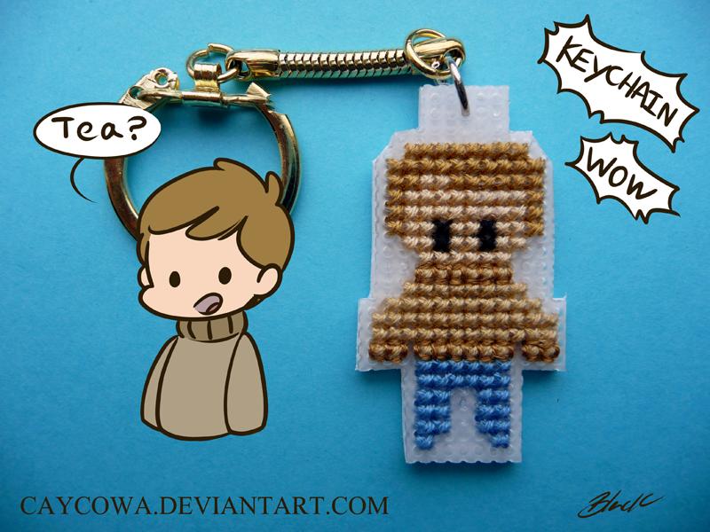 BBC Sherlock - John Watson cross stitch keychain by caycowa