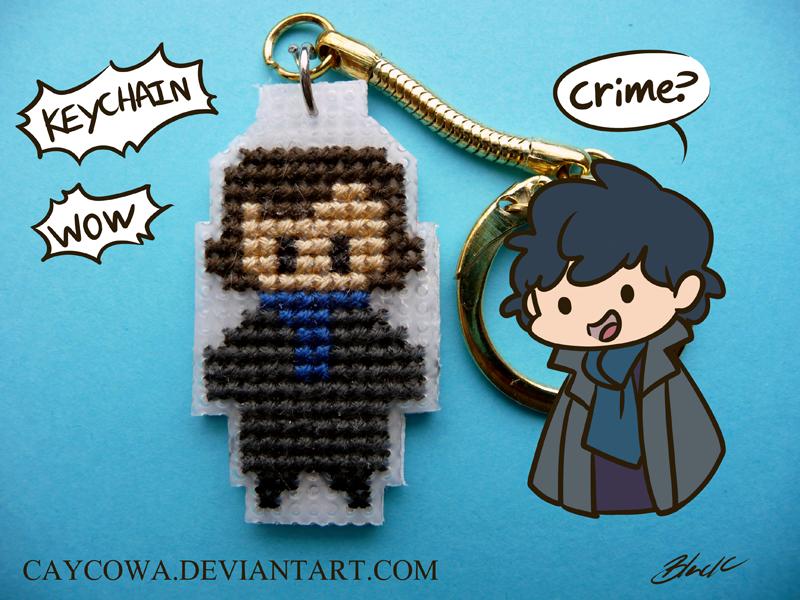 BBC Sherlock-Sherlock Holmes cross stitch keychain by caycowa