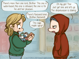 Thorki - Thor and Loki go to the drugstore by caycowa