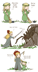 Hobbit - Legolas and Thranduil vs Mirkwood Spiders
