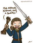 Hobbit - Bard 156 arrows, 3 bows and a sword