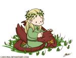 Commission - Legolas and chibi Smaug