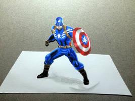 3D Captain America Color Pencil by Latchunga