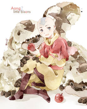 .Aang and little bisons.