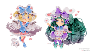 .Chibi commission: Cutesu and Miruku.