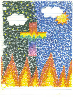 Pointillism Cross with Fire