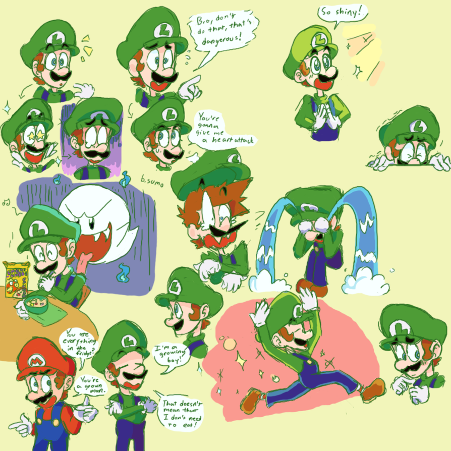 Luigi Doodles: Now in Color! by bulgariansumo on DeviantArt