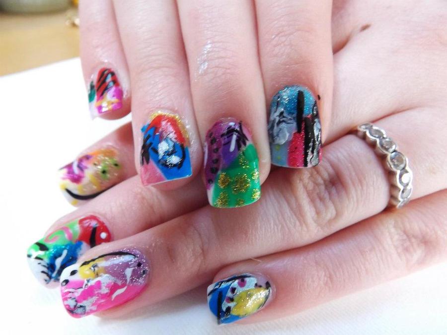 multi coloured nail art by emiiping ... - Multi Coloured Nail Art By Emiiping On DeviantArt