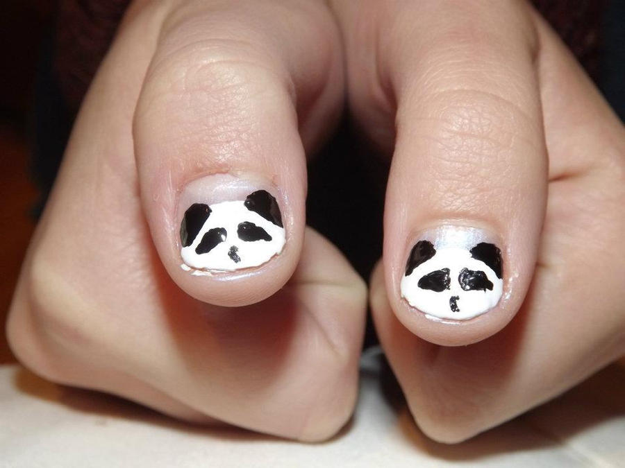 Panda nail art by emiiping on deviantart panda nail art by emiiping prinsesfo Image collections
