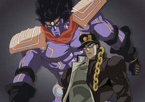 Jotaro and Star Platinum by Persian7