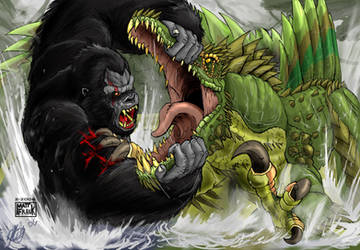 King Kong vs. Spinosuchosaurus by KaijuSamurai